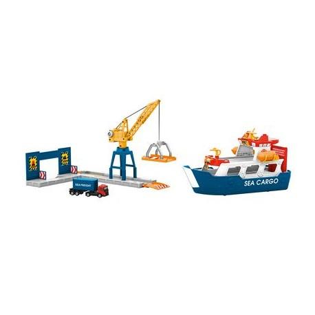 Vrachtschip en havenkraan